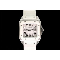WATCH: (1) Stainless Steel Unisex Cartier Santos 100 automatic watch, with white dial, and white rub
