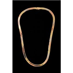 "CHAIN: (1) 14k tri-gold 18"" fancy link chain necklace; 30.1 grams"