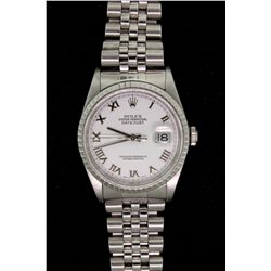 WATCH: (1) Stainless steel Gent's Rolex Oyster Perpetual Datejust watch, with white dial, fluted bez