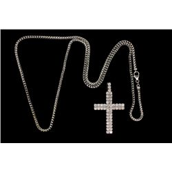 "NECKLACE: (1) 14k WG 34"" Franco link chain with 14k WG cross pendant set with 49 round diamonds, est"