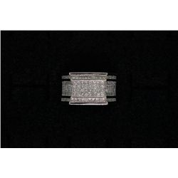 "RING: (1) Men's 14kw ""invisible"" set diamond eternity ring; 316 sq. prin diamonds, 1.5mm to 1.7mm ="