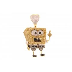 PENDANT: (1) Men's 10ky Sponge Bob Square Pants motif treated yellow, red, brown, black, and white d