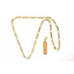 NECKLACE & PENDANT:  [1] 18ky figaro chain necklace (23.5 in.) with a cartouche style pendant engrav