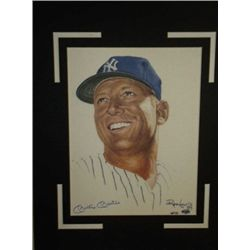Mickey Mantle Colored Autographed With COA