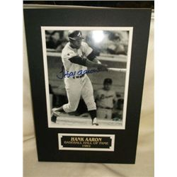 Hank Aaron Autograph Photo & Matted