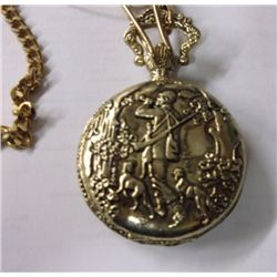 Gold Tone Pocket Watch Hunter & Dogs