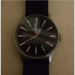 Nixon  Black Leather Band Stainless Steel Watch