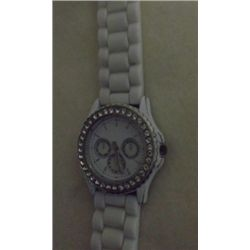 Ladies White Watch Rhinestone Bezel