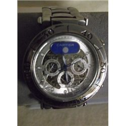Cartier Stainless Steel Watch  crystal is broken- needs battery