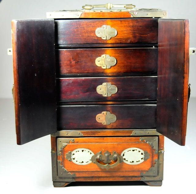 Rosewood jade encrusted Chinese jewelry box