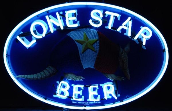 Lone Star Beer Armadillo Lighted Neon Sign