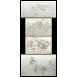 Charlie Dye, four pencil drawings