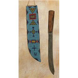 Large Blackfeet Beaded Knife Sheath