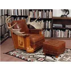 Sweet Water Ranch Moose Antler Chair with Ottoman