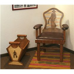 Two Sweet Water Ranch Keyhole Chair and Magazine Rack, Thomas Molesworth