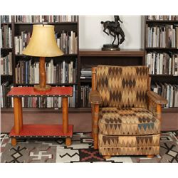 Sweet Water Ranch Club Chair, Side Table and Lamp, Thomas Molesworth