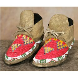 Sioux Quilled and Beaded Moccasins