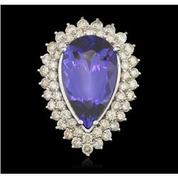 14KT White Gold 20.35ct GIA Cert Tanzanite and Diamond Ring