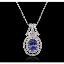 18KT White Gold 1.73ct Tanzanite and Diamond Pendant