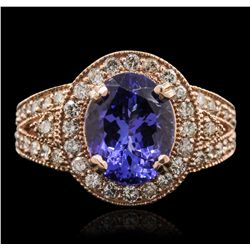14KT Rose Gold 3.80ct Tanzanite and Diamond Ring