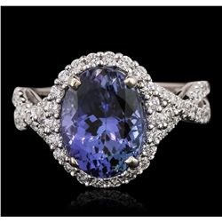 18KT White Gold 4.09ct Tanzanite and Diamond Ring