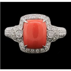14KT White Gold 6.78ct Coral and Diamond Ring