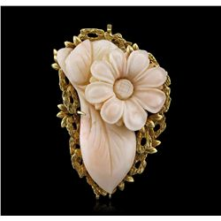 14KT Yellow Gold Coral Vintage Pendant