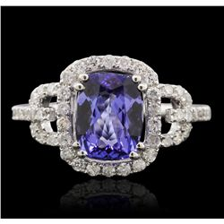 14KT White Gold 2.04ct Tanzanite and Diamond Ring