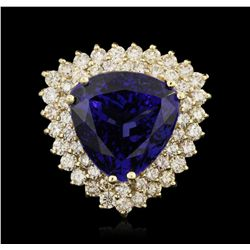 14KT Yellow Gold 19.10ct GIA Certified Tanzanite and Diamond Ring