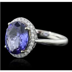 14KT Two-Tone Gold 4.41ct Tanzanite and Diamond Ring