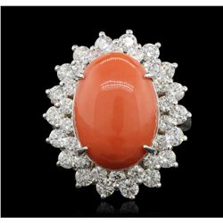 14KT White Gold 8.76ct Red Coral and Diamond Ring