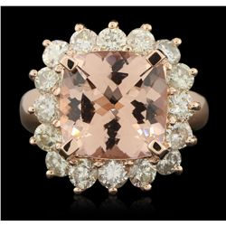 14KT Rose Gold 6.08ct Morganite and Diamond Ring