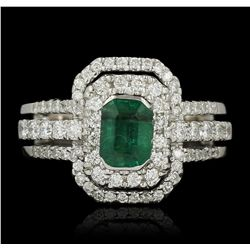 18KT White Gold 1.01ct Emerald and Diamond Ring