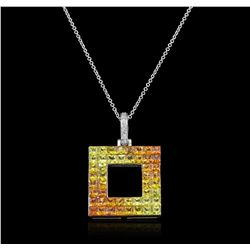14KT White Gold 4.63ctw Yellow Sapphire and Diamond Pendant With Chain