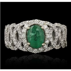 14KT Two Tone Gold 1.13ct Emerald and Diamond Ring