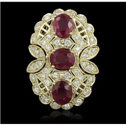 14KT Yellow Gold 7.69ctw Ruby and Diamond Ring