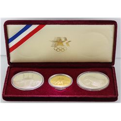 1984 United States Olympic Silver and 21KT Yellow Gold Coin Set