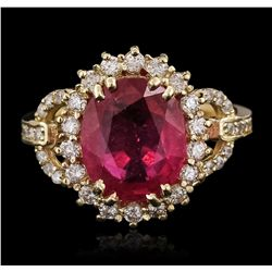 14KT Yellow Gold 3.46ct Ruby and Diamond Ring