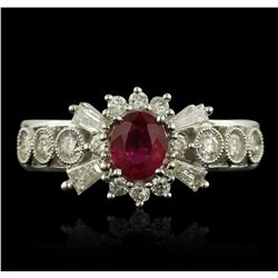18KT White Gold 0.55ct Ruby and Diamond Ring