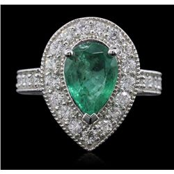 14KT White Gold 2.12ct Emerald and Diamond Ring