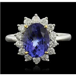14KT Two-Tone Gold 3.14ct Tanzanite and Diamond Ring