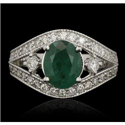 14KT White Gold 1.65ct Emerald and Diamond Ring
