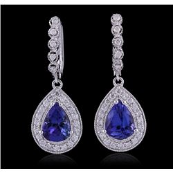 14KT White Gold 6.50ctw Tanzanite and Diamond Earrings