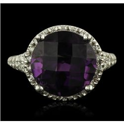 14KT White Gold 6.17ct Amethyst and Diamond Ring