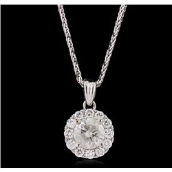 14KT White Gold 0.94ctw Diamond Pendant With Chain