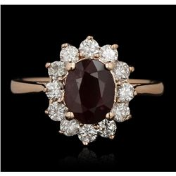 14KT Rose Gold 1.57ct Ruby and Diamond Ring