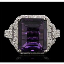 14KT White Gold 5.07ct Amethyst and Diamond Ring
