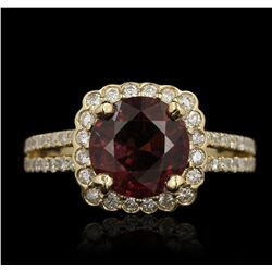 14KT Yellow Gold 2.73ct Rubellite and Diamond Ring