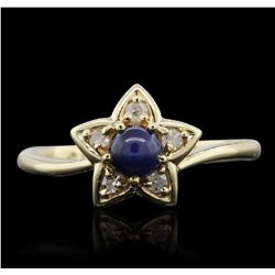 10KT Yellow Gold 0.25ct Sapphire and Diamond Ring