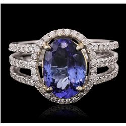 14KT Two-Tone Gold 3.16ct Tanzanite and Diamond Ring